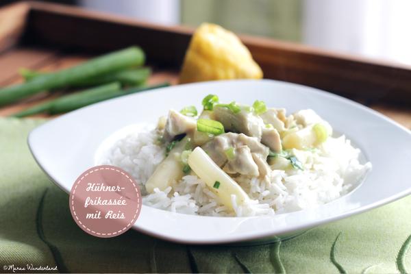 Hühnerfrikassée mit Reis • Chiken fricassee with rice