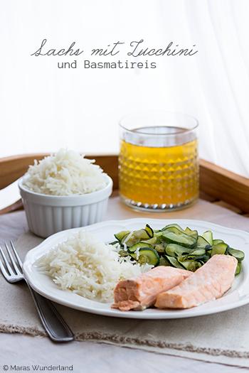 Lachs mit Zucchini und Reis