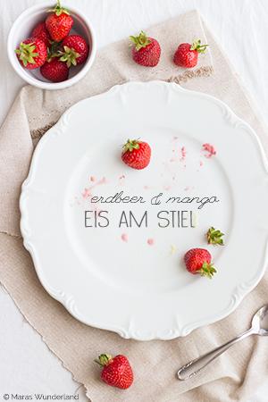 Erdbeer-Mango-Eis am Stiel