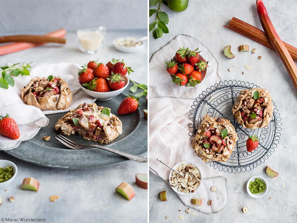 Gesunde Erdbeer-Rhabarber-Galettes in mini