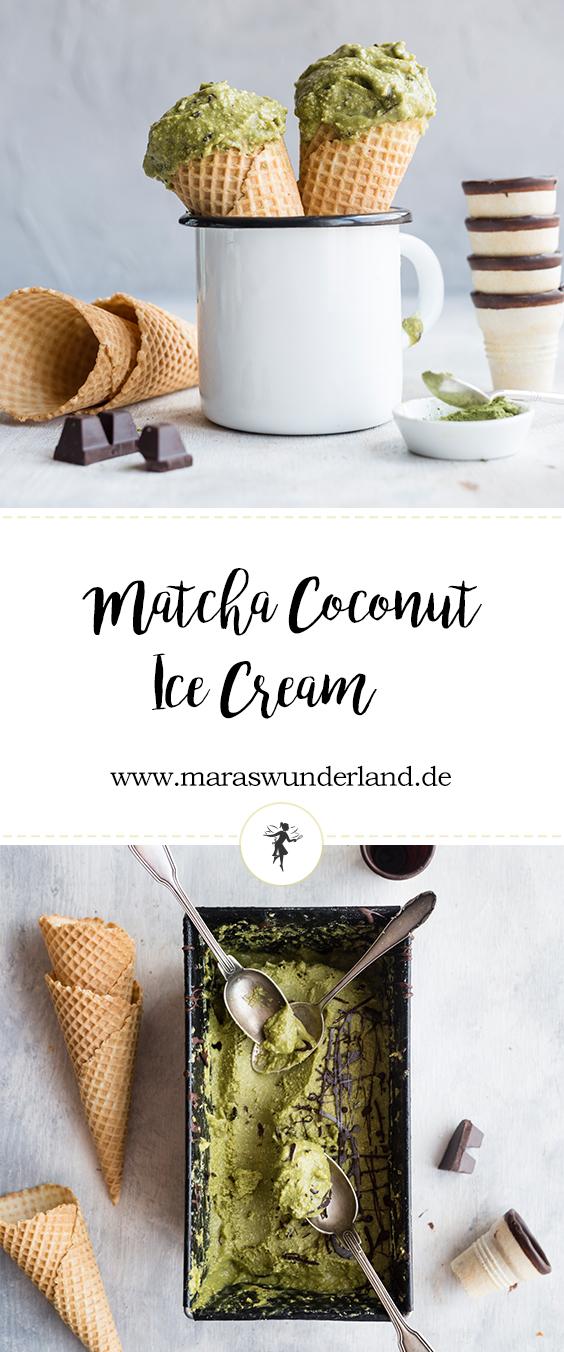 Gesunde Matcha-Kokos-Eiscreme von Maras Wunderland