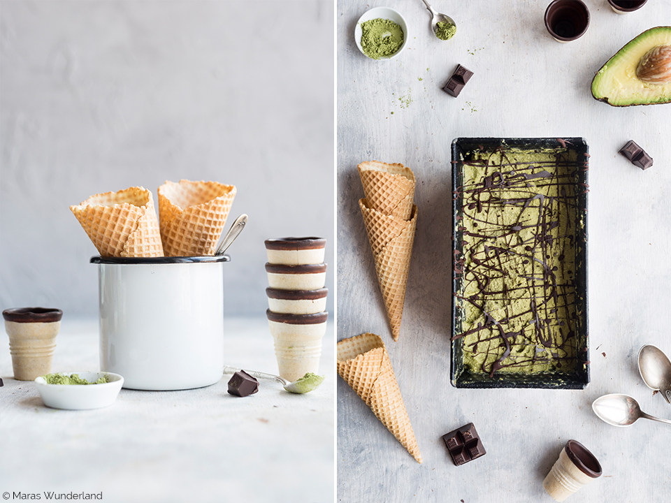 Gesunde Matcha-Kokos-Eiscreme