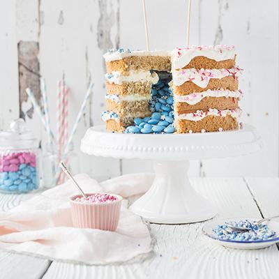 Lemon & Coconut Gender Reveal Cake