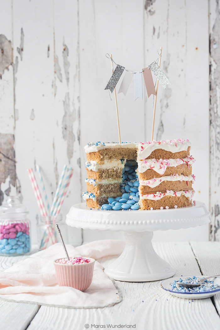 Lemon & Coconut Gender Reveal Cake