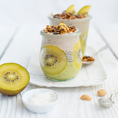 Kiwi Peanut Nice Cream with Chia Coconut Pudding