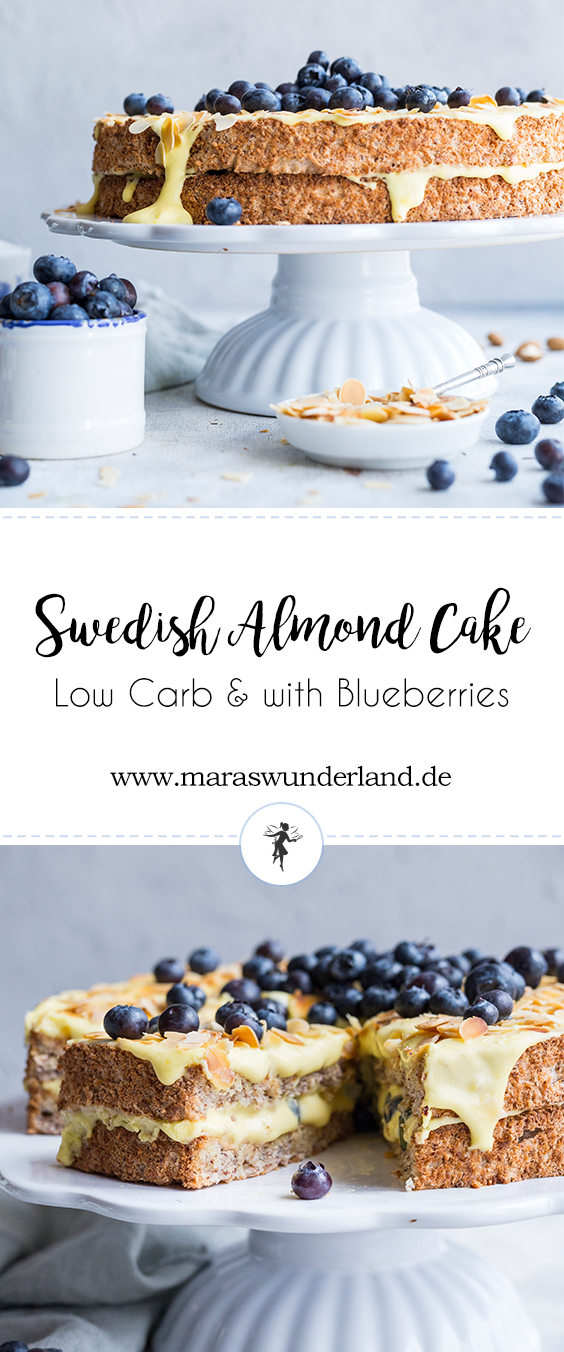 Low Carb Swedish Almond Cake with Blueberries • from Maras Wunderland