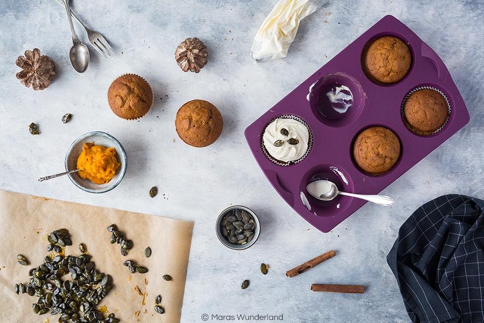 Kürbis Cupcakes mit Erdnussbutter-Frosting