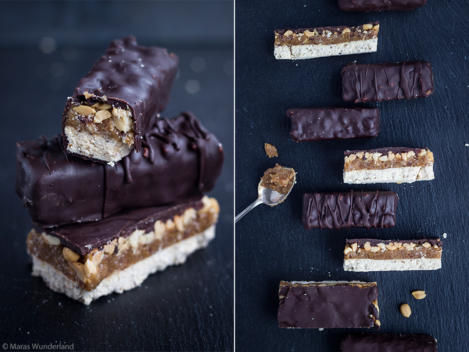 vegan, healthy, home-made Snickers