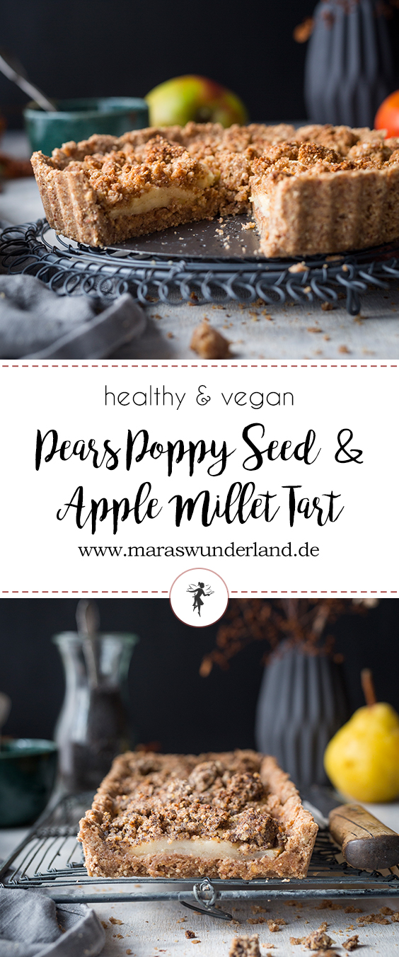 Healthy & vegan Pears Poppy Seed Tart & Apple Mitllet Tart