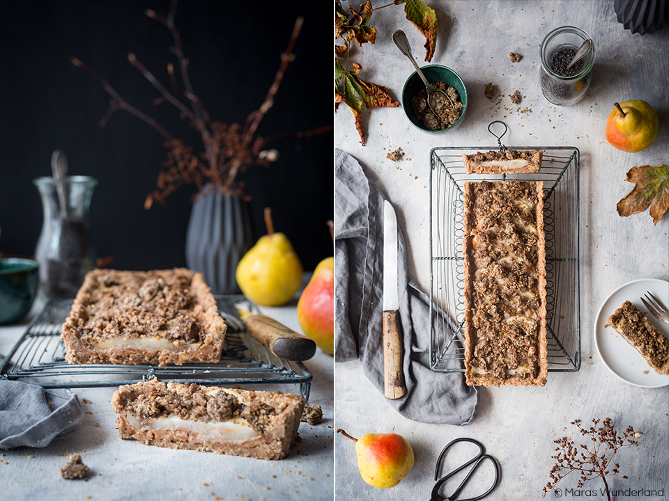 gesunde & vegane Birnen-Mohn-Tarte mit Erdnussbutter