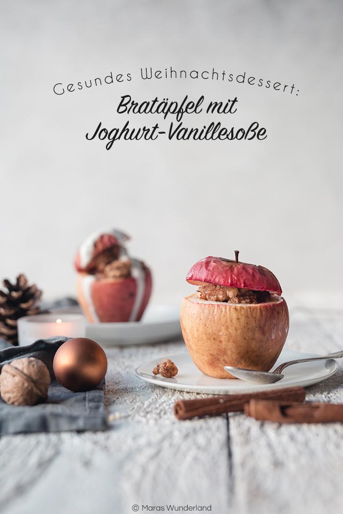 Gesunde Bratäpfel mit Joghurt-Vanillesoße