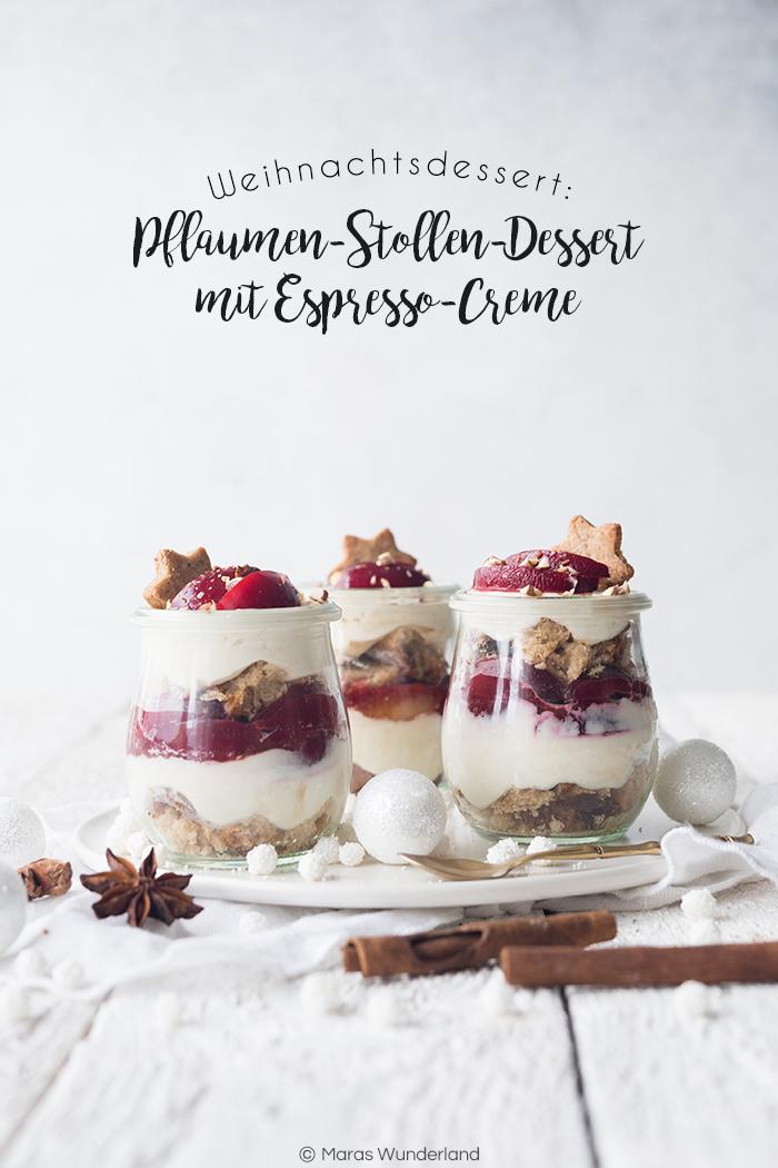 Pflaumen-Stolles-Dessert mit Espressocreme