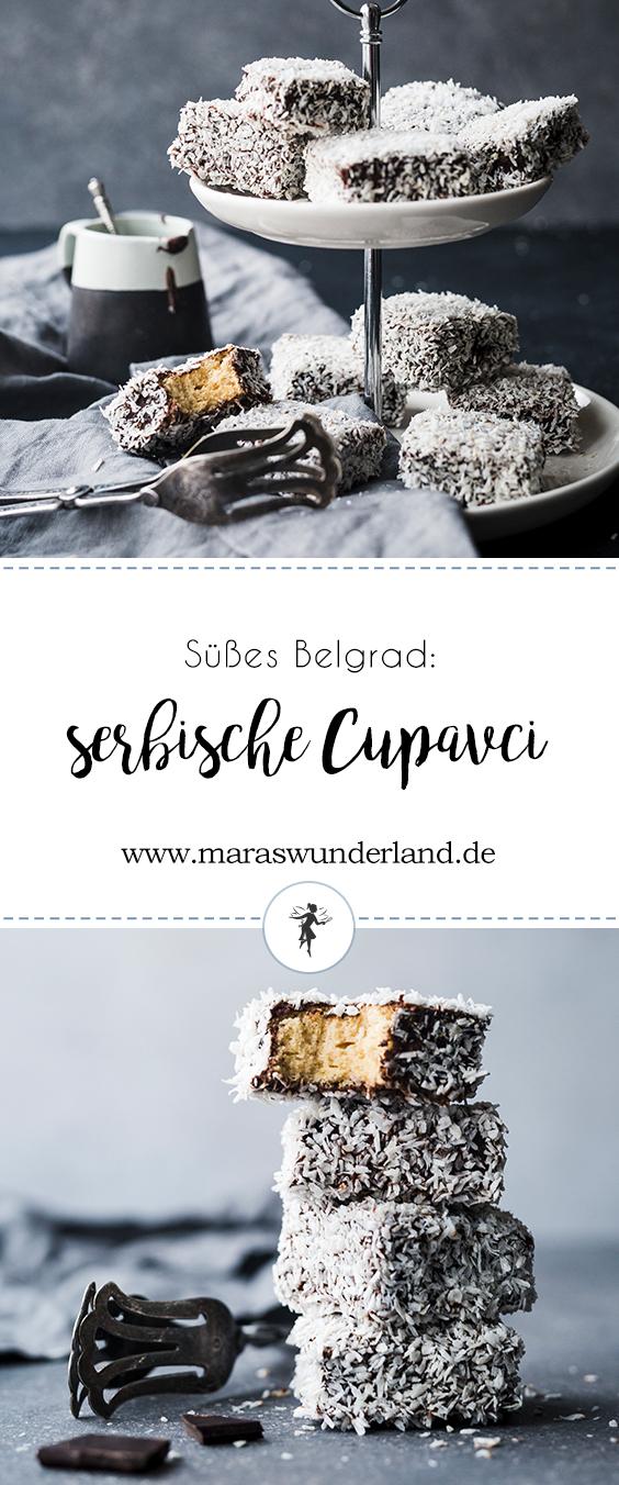 {Werbung} Süßes Belgrad: Serbische Čupavci. Kleine Biskuitwürfel, getunkt in Schokolade und gewälzt in Kokosraspeln. • Maras Wunderland