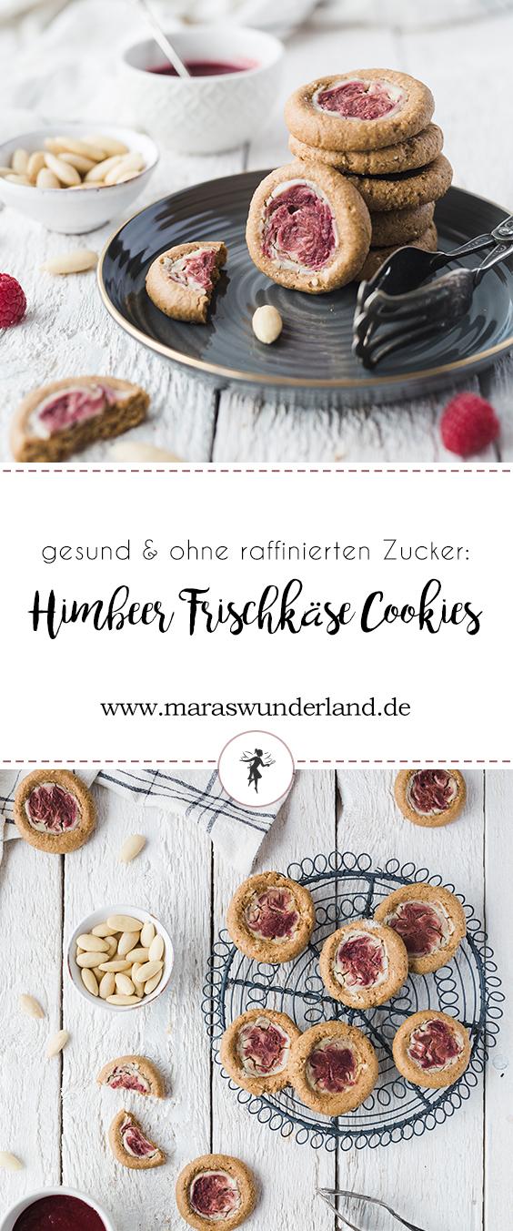 Rezept für gesunde Himbeer-Frischkäse-Cookies ohne raffinierten Zucker und Weißmehl. Soft, super lecker und ein perfekter süßer Snack.