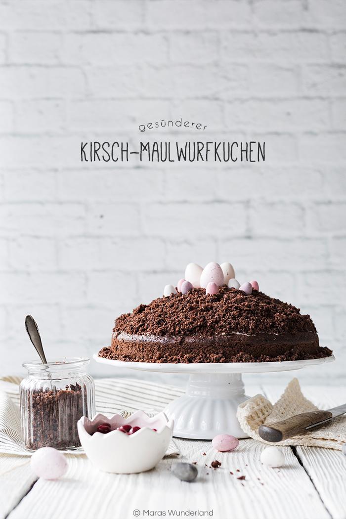 {Werbung} Rezept für Kirsch-Maulwurfkuchen. Der deutsche Klassiker ohne Banane und in einer gesünderen Variante. Perfekt zu Ostern. Einfach zu backen.