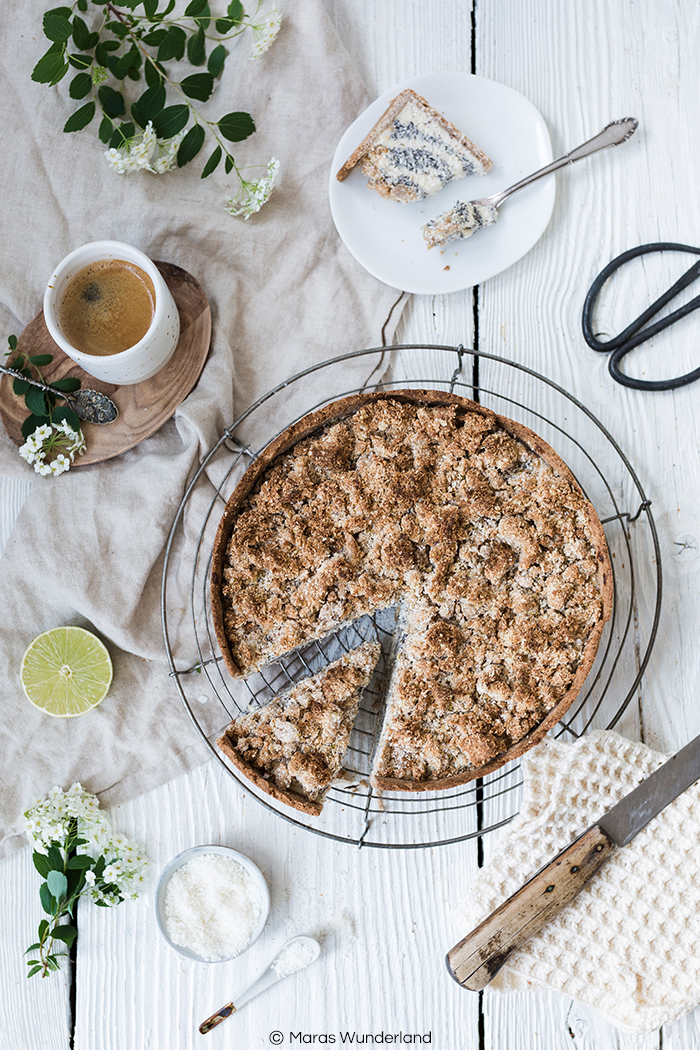 Gesünderer Mohn-Kokos-Quarkkuchen mit Streuseln