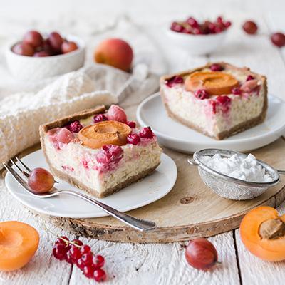 Fruchtig, erfrischender Aprikosen-Milchreiskuchen