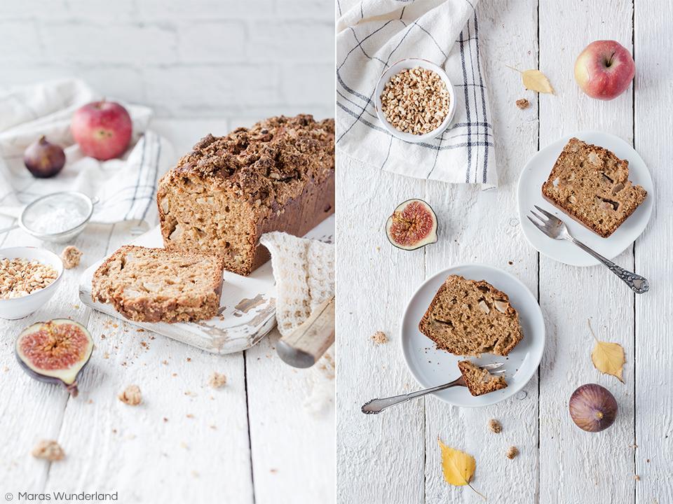 Rezept für ein gesündere Feigen-Apfelbrot mit Streuseln. Schnell & einfach gemacht. Perfektes Herbstsüß zum Frühstück oder zum Kaffee.