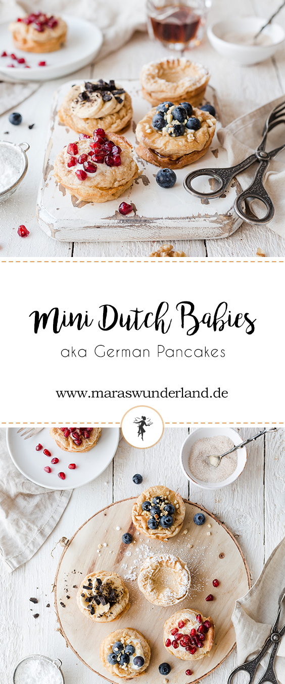 Rezept für Mini Dutch Babies aka German Pancakes. Pfannkuchen aus der Muffinform aus nur wenigen Zutaten und ohne Zucker. Getoppt mit den Lieblingszutaten. Perfekt zum Frühstück. #pancakes #frühstück äsüßesfrühstück #sweetbreakfast #maraswunderland #pfannkuchen #dutchbabies #germanpancakes