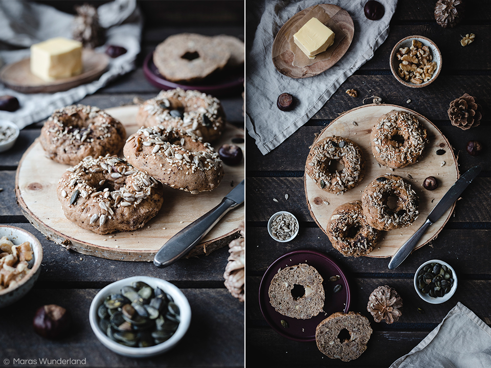 Vegane Maronen Haselnuss Bagels