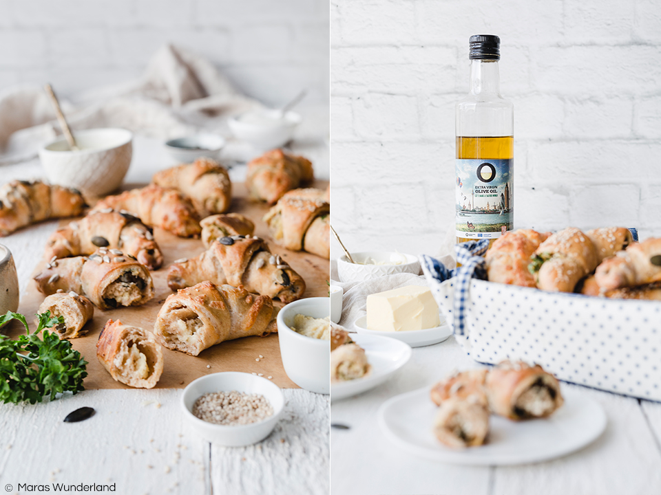 {Werbung} Rezept für dreierlei herzhafte und gesündere Frühstückshörnchen: Schmand-Käse, Hummus und Körner. Schnell und einfach gemacht, ohne Wartezeit. Perfekt zum Frühstück oder als Snack. • Maras Wunderland #frühstückshörnchen #croissants #frühstücksrezept #herzhaft #snack #herzhaftersnack #maraswunderland #gesundersnack #vollkorn #hörnchen