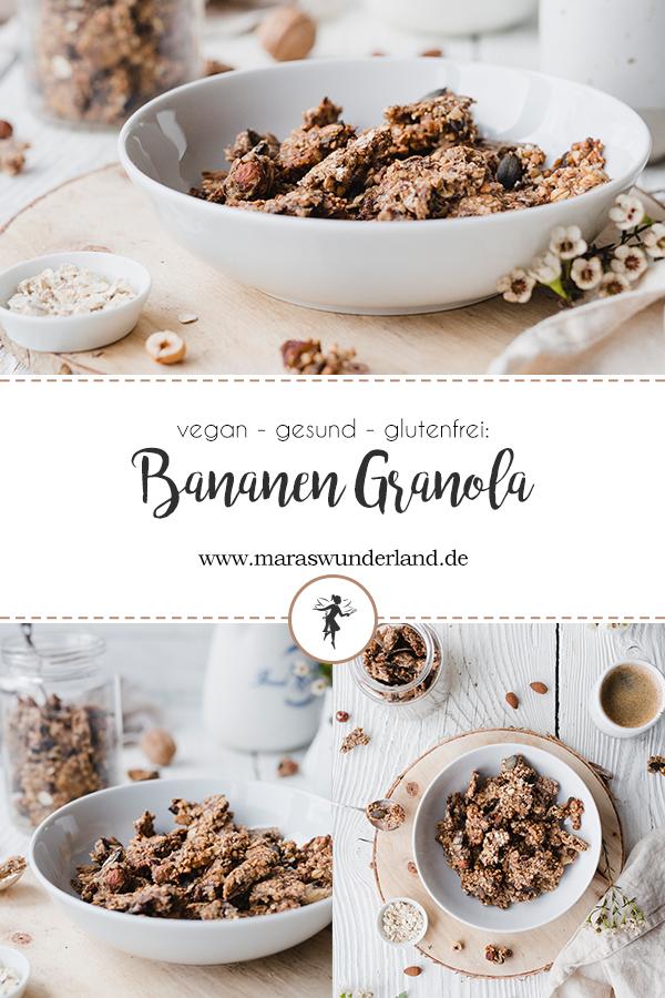 Vegane, gesunde, glutenfreie Bananen-Granola. Schnelles und einfaches Rezept für selbstgemachte Granola/ Müsli zum Frühstück. Plus eine weitere Variante mit extra Protein. Auch super als Geschenk aus der Küche geeignet. • Maras Wunderland #granola #frühstück #frühstücksidee #gesunderezepte #gesundesfrühstück #müsli #geschenkausderküche #maraswunderland #glutenfrei #gesund #helathybreakfast #breakfast #vegan #veganbreakfast