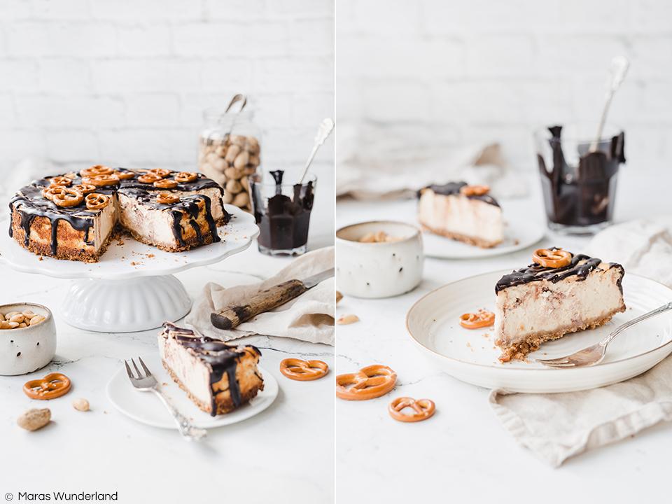 Peanutbutter Cheesecake mit Brezelboden