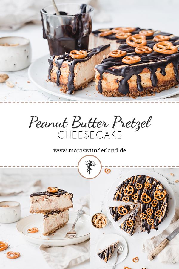 Rezept für einen süß salzigen Peanutbutter Cheesecake mit Brezelboden und leckerer Schokoladen-Ganache. Passt zu jeder Gelegenheit. Dazu ein klein bisschen gesünder mit hohem Magerquark-Anteil. • Maras Wunderland #cheesecake #käsekuchen #peanutbutter #erdnussbutter #peanutbuttercheesecake #kuchen #kuchenrezept #geburtstagskuchen #brezeln #pretzel #maraswunderland #schokoganache #ganache