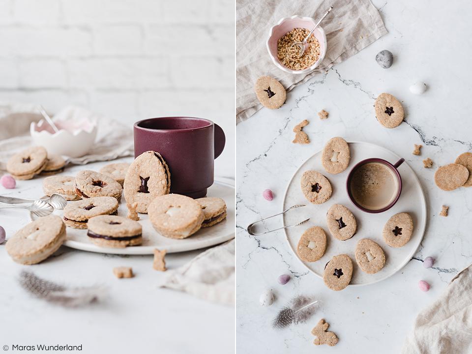 {Werbung} Rezept für easy peasy gesunde Osterplätzchen mit drei verschiedenen Aufstrichen als Füllung. Ohne raffinierten Zucker, mit Vollkornmehl und Mandeln. Super für Kinder und perfekt fürs Osterfest. • Maras Wunderland #osterplätzchen #plätzchen #kekse #aufstrich #schokoaufstrich #gesundbacken #gesundekekse #healthycookies #healthybaking #eastertreat #ostergebäck #osterrezept #easterrecipe