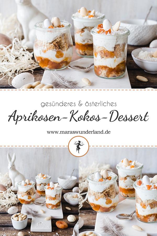 {Werbung} Rezept für ein einfaches aber raffiniertes Aprikosen-Kokos-Dessert, dass perfekt zur Osterzeit passt. Mandelbiskuit und Kokoscreme mit Aprikosen. Super lecker, dazu gesünder. • Maras Wunderland #osterdessert #dessert #nachtisch #eastertreat #easterdessert #kokosdessert #mandelbiskuit #easterrecipe #osterrezept
