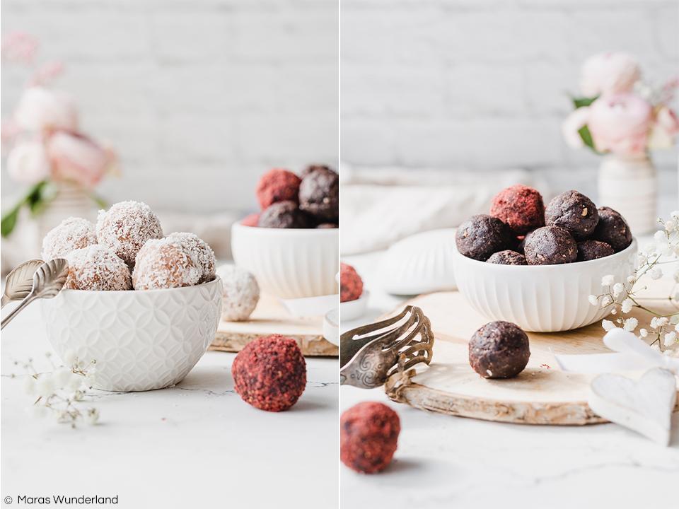 Rezept für zweierlei vegane Energy Balls. Gesund, glutenfrei, rohköstlich, zuckerfrei und richtig lecker. Schokolade-Nuss und Mandel-Kokos. Richtig schnell gemacht und eine wunderbare Geschenkidee. • Maras Wunderland #energyballs #blissballs #pralinen #geschenkeausderküche #maraswunderland #mothersday #muttertag #brownies #raw #healthy #gesundersnack #snack #healthysnack #vegan #glutenfree #sugarfree #zuckerfrei