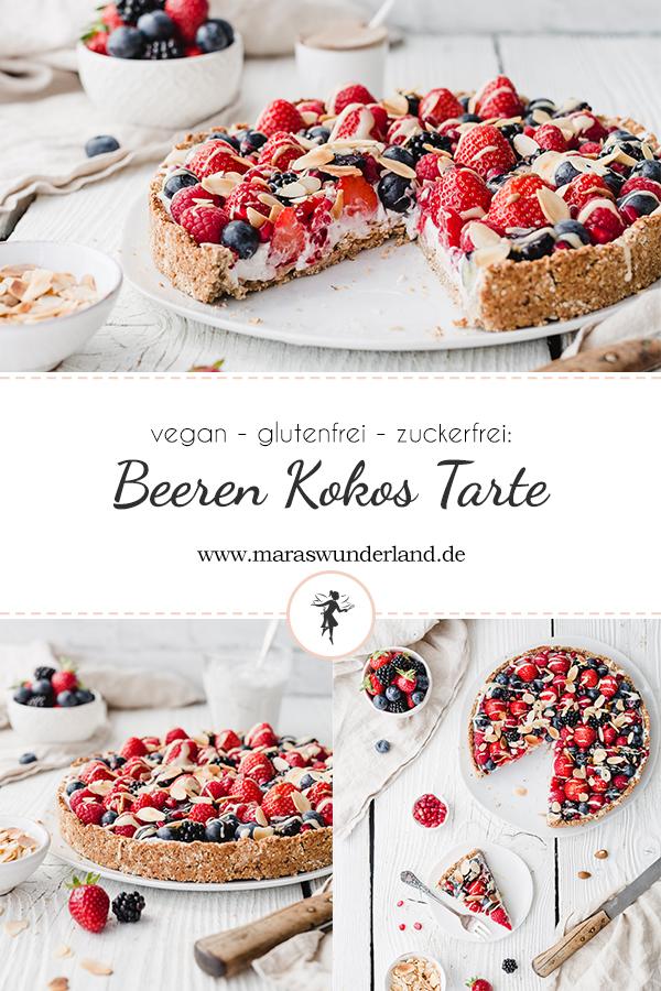 Rezept für eine vegane, glutenfreie und zuckerfrei Beere-Kokos-Tarte. Richtig schnell und einfach gemacht, cremig und knusprig. Perfekt für den Sommer. • Maras Wunderland #beerentarte #glutenfrei #glutenfree #vegan #veganbacken #veganerkuchen #eathealthy #healthycake #gesundbacken #zuckerfrei #backenmitkindern #maraswunderland