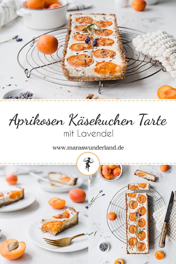 Einfaches Rezept für eine Aprikosen-Käsekuchen-Tarte mit Lavendel. Gesünder, cremig, fruchtig und erfrischend. Perfekt für den Sommer. • Maras Wunderland #tarte #aprikosenkuchen #apricotscake #apricots #aprikosentarte #käsekuchen #cheesecake #maraswunderland