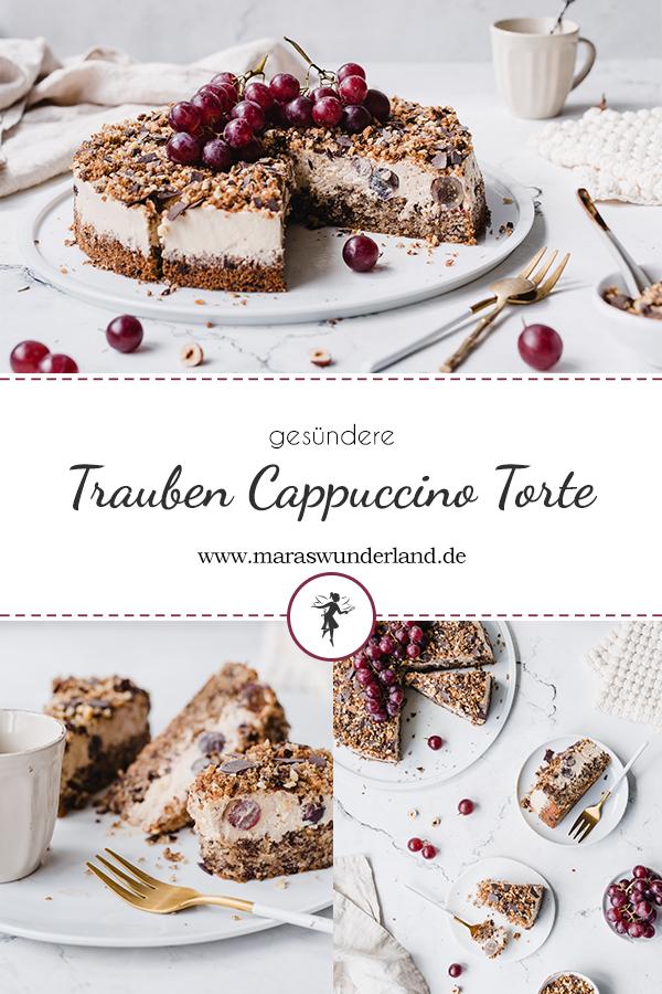 Rezept für eine leckere und gesündere Trauben-Cappuccino-Torte. Saftiger Nuss-Schokoladenboden mit locker, leichter Kaffee-Creme und Trauben. • Maras Wunderland #trauben #grapes #torte #geburtstagstorte #krümeltorte #cappuccinotorte #eiscafetorte #kaffeekuchen #coffeecake #maraswunderland