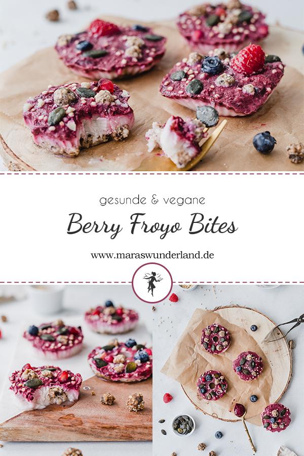 Rezept für gesunde, vegane und glutenfreie Berry Froyo Bites. Schnell und einfach gemacht - perfekt für den Sommer. • Maras Wunderland #berryfroyobites #froyo #froyobites #joghurteis #maraswunderland #veganerezept #glutenfreiersnack #vegansnack #vegantreat #glutenfree #gesundersnack #snackfürkinder #gesundeseis