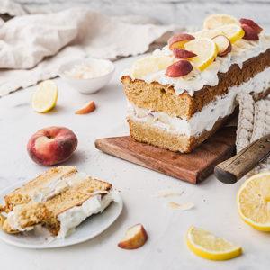 Gesünderer Pfirsich-Zitronenkuchen