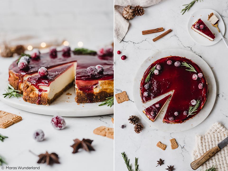 Weihnachtliches Rezept für Glühwein-Käsekuchen mit Spekulatius-Boden. Einfach und schnell gemacht - gut vorzubereiten. Super für das Weihnachtsfest. • Maras Wunderland #käsekuchen #cheesecake #glühwein #mulledwine #spekulatius #speculoos #christmascake #weihnachtskuchen #weihnachtstorte #maraswunderland