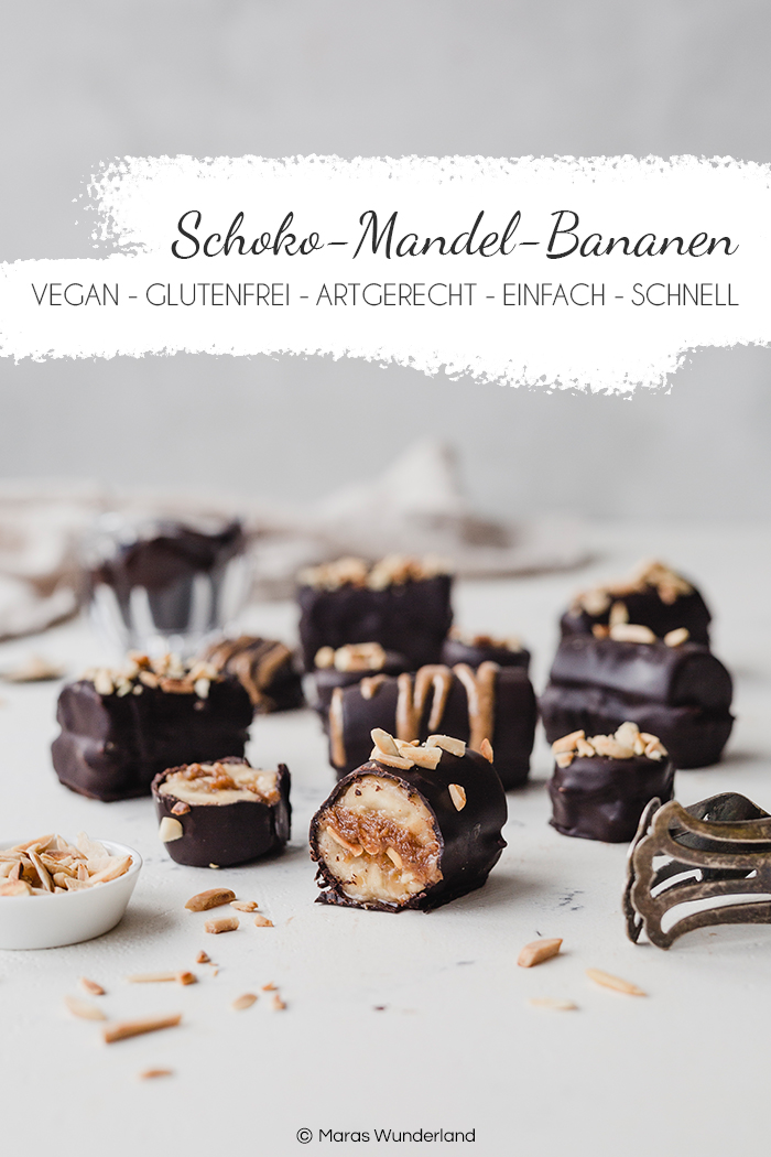 Schnelles und einfaches Rezept für gesunde, glutenfreie und vegane Schoko-Mandel-Bananen. Perfekter gesunder Snack - vor allem für Kinder • Maras Wunderland #maraswunderland #schokobananen #chocolatebananas #bananas #healthysnack #snackfürkinder #gesundersnack #paleo
