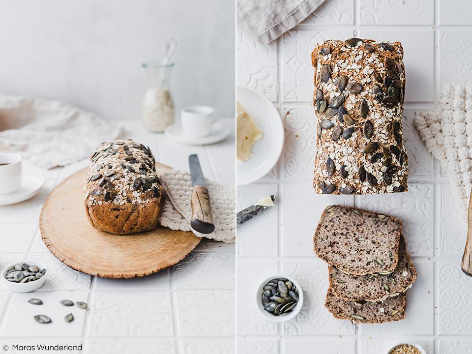 Glutenfreies Brot mit Hafer und Buchweizen. Vegan und gesund. Ein schnelles und einfaches Rezept ohne Hefe. • Maras Wunderland #brot #brotrezept #ohnehefe #bread #glutenfreibacken #glutenfrei #glutenfreebread