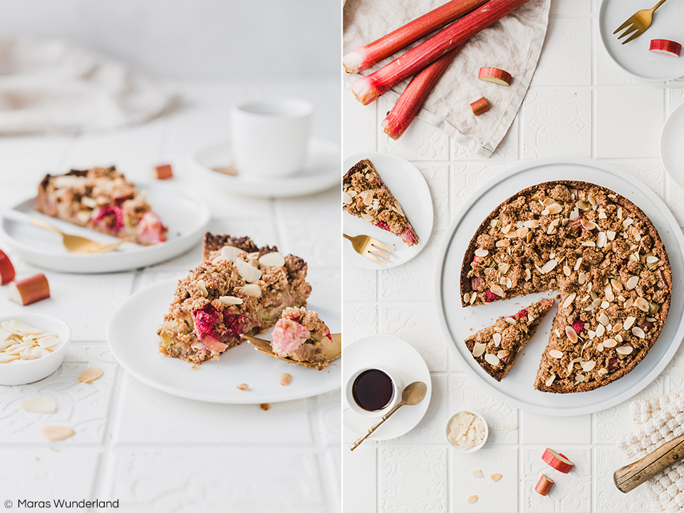 Glutenfreier, veganer Rhabarber-Streusel-Kuchen. Ein einfaches und schnelles Rezept für einen gesunden Kuchen, der perfekt in den Frühling passt. • Maras Wunderland #rhabarberkuchen #rhubarbcake #streuselkuchen #gesundbacken #gesunderezepte #gesunderkuchen #healthycake #vegan #glutenfrei #veganerkuchen #veganbacken #vegancake
