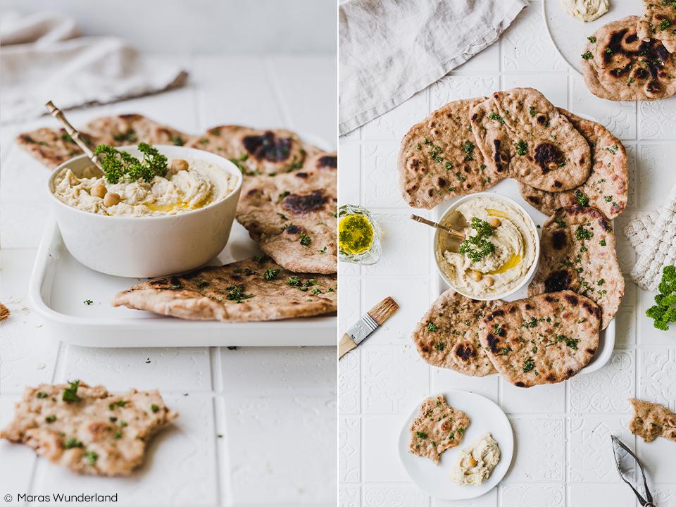 Veganes Naan mit Hummus. Gesund und Vollkorn. Schnell und einfach gemacht. Passt perfekt als Grillbeilage oder auf das Geburtstagsbuffet. • Maras Wunderland #naan #hummus #vegan #rezept #grillbeilage #barbecue #aufstrich #gesund #gesunderezepte