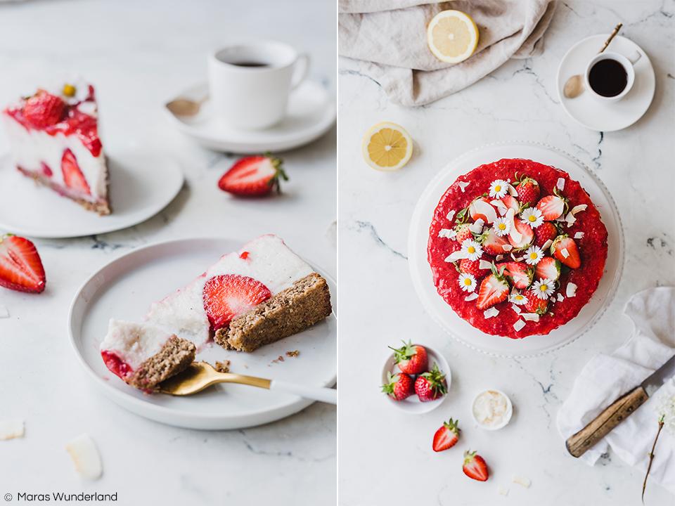 Vegane Erdbeertorte mit Kokos. Glutenfrei und gesund. Eine leckere und saftige Torte, perfekt für den Frühling und für Muttertag. Einfaches Rezept. • Maras Wunderland #erdbeerkuchen #erdbeertorte #mothersdaycake #muttertagstorte #muttertag #erdbeeren #torte #veganbacken #veganetorte #glutenfreibacken