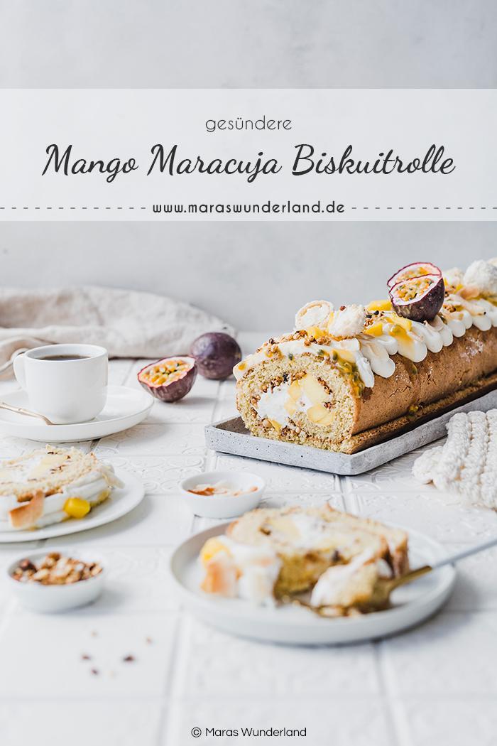 Gesündere Mango-Maracuja-Biskuitrolle. Ein einfaches Rezept für einen saftigen und super leckeren Sommerkuchen. Cremig und crunchy. • Maras Wunderland #biskuitrolle #spongeroll #sommerkuchen #mangomaracuja #gesunderezepte #maraswunderland