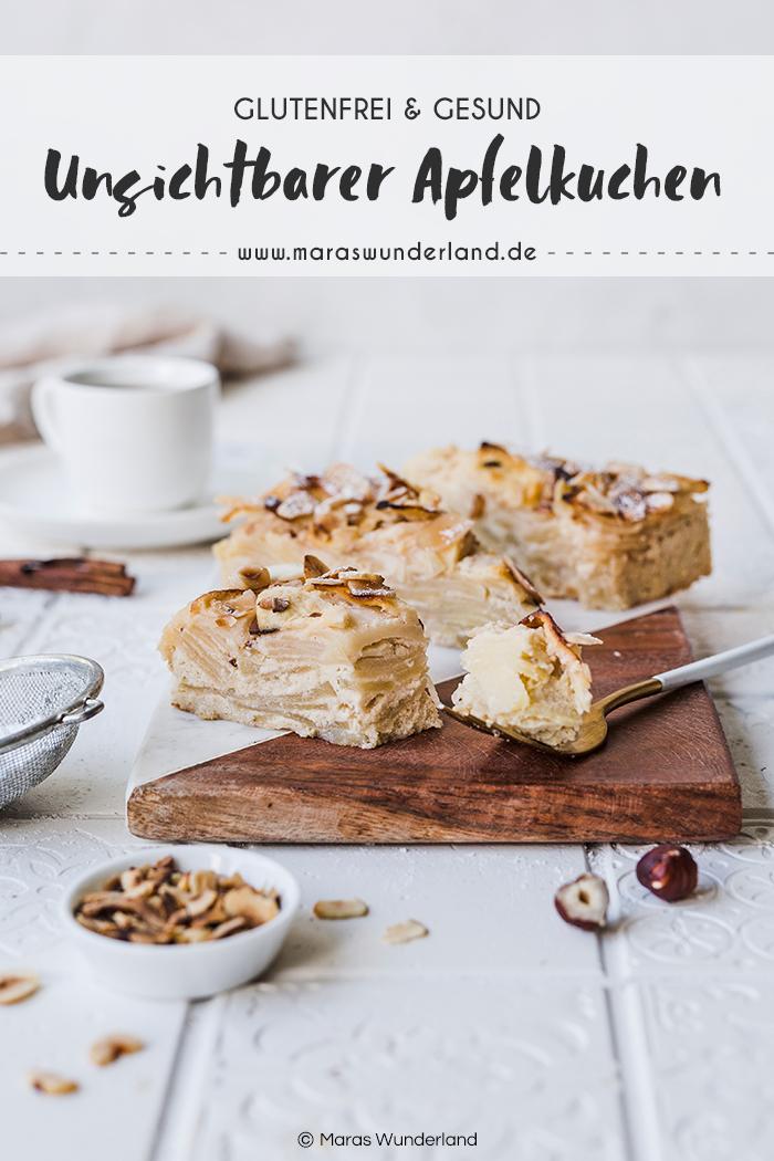 Gesund, glutenfrei, kalorienarm und perfekt für den Herbst: Unsichtbarer Apfelkuchen bzw. Invisible Apple Cake. Schnell und einfach gemacht und voller gesunder Zutaten. • Maras Wunderland #applecake #invisibleapplecake #apfelkuchen #glutenfrei #gesunderezepte