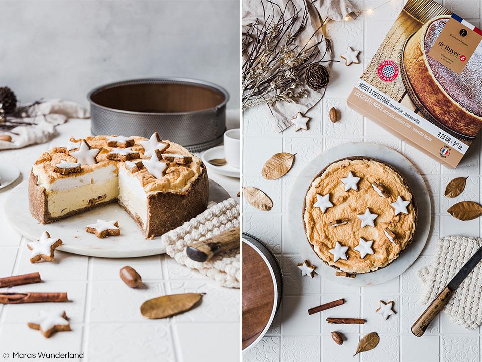 Gesünderer und weihnachtlicher Zimtstern-Käsekuchen. Ein einfaches Rezept, saftig, fluffig, cremig und super lecker. • Maras Wunderland #weihnachtskuchen #käsekuchen #cheesecake #zimtstern #cinnamonstars #christmascake