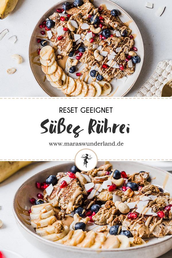 Süßes Rührei. Gesund, glutenfrei, laktosefrei und RESET geeignet. In weniger als 15 Minuten fertig. • Maras Wunderland #sweeteggs #reset #artgerecht #scrambledeggs