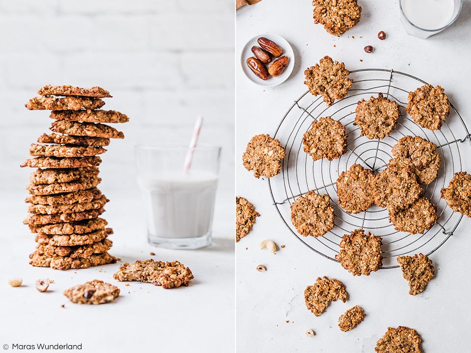 Vegane Nusscookies - gesund, glutenfrei, zuckerfrei. Ruck zuck gemacht und RE'ST geeignet (gut für den Darm). • Maras Wunderland #cookies #vegan #glutenfree #sugarfree