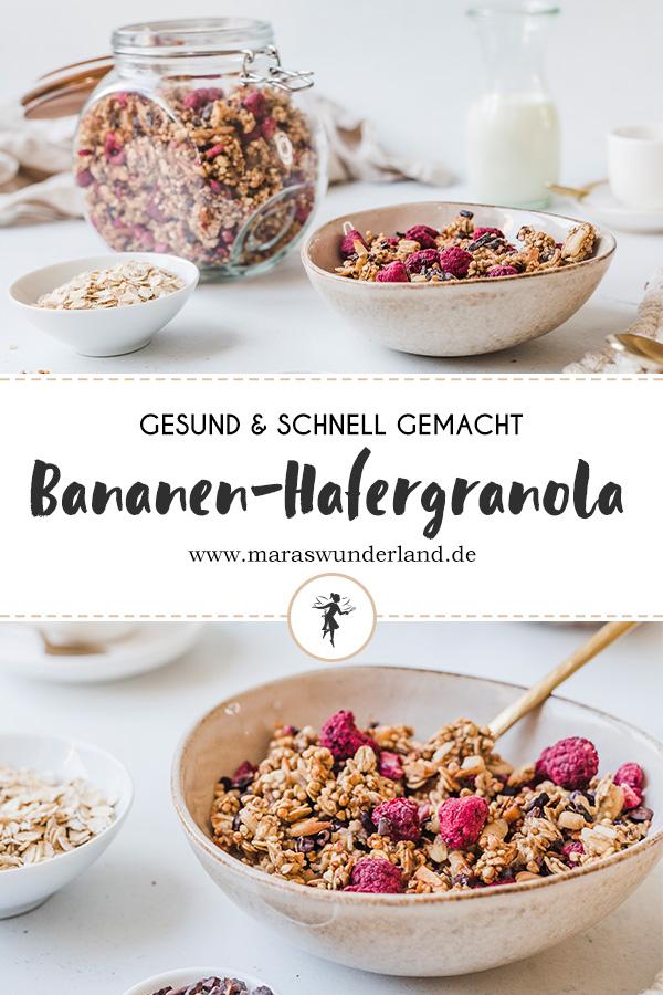 Gesunde Bananen-Hafergranola. Ein schnelles und einfaches Rezept. Knusprig, gesund, vegan. • Maras Wunderland