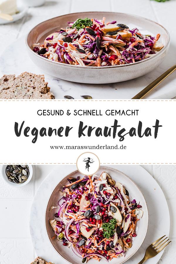 Bunter und veganer Krautsalat. Gesund, voller guter Zutaten und schnell gemacht. Mit veganem Dressing mit Cashews. • Maras Wunderland #salad #salat #krautsalat #coleslaw