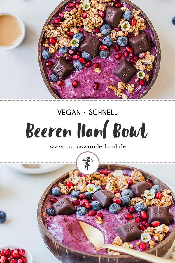 Ein schnelles und einfaches Rezept für eine vegane Bowl mit Beeren & Hanf. Glutenfrei & gesund. • Maras Wunderland